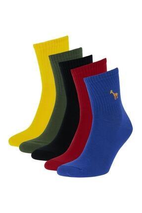Defacto Desenli Kutulu 5'li Uzun Çorap 1
