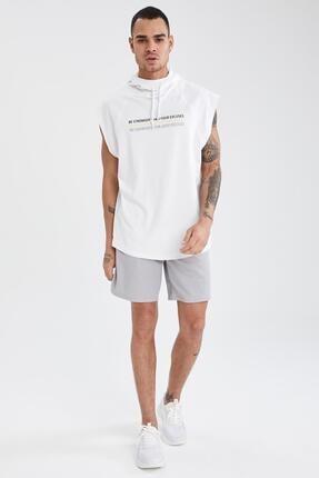Defacto Baskılı Slim Fit Kolsuz Spor Sweatshirt 1