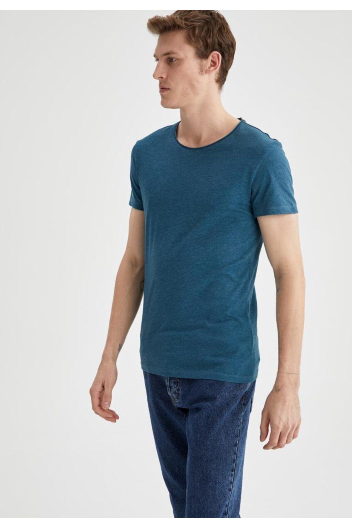 Erkek Mavi Basic Slim Fit T-shirt