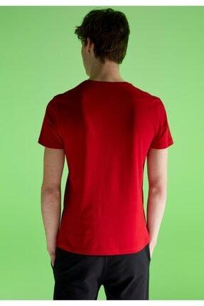 Defacto Erkek Kırmızı Baskılı Slim Fit Bisiklet Yaka Pamuklu  T-Shirt 4