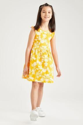 Defacto Kız Çocuk Sarı Çiçek Desenli Kolsuz Elbise 0