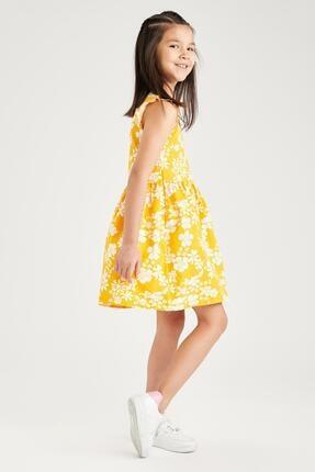 Defacto Kız Çocuk Sarı Çiçek Desenli Kolsuz Elbise 2