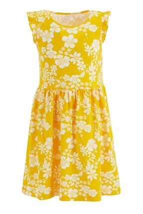 Defacto Kız Çocuk Sarı Çiçek Desenli Kolsuz Elbise 4
