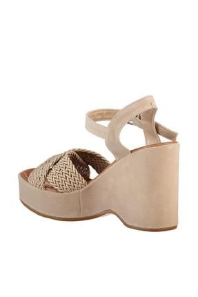 Soho Exclusive Vizon Süet Kadın Dolgu Topuklu Ayakkabı 15938 4