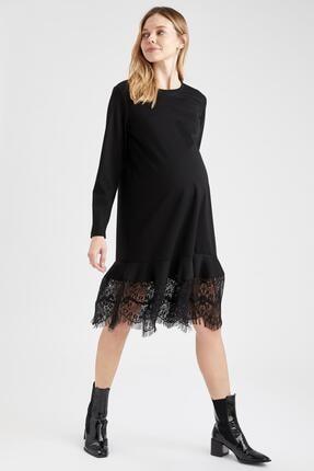 Defacto Kadın  Black Red Hamile Dantel Detaylı Elbise T6039AZ20WN 1