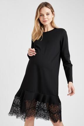 Defacto Kadın  Black Red Hamile Dantel Detaylı Elbise T6039AZ20WN 2