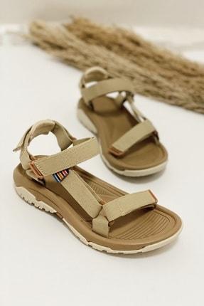 Nil Shoes Kadın Wall Bej Cırtlı Düz Taban Sandalet 0