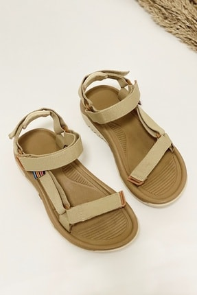 Nil Shoes Kadın Wall Bej Cırtlı Düz Taban Sandalet 2