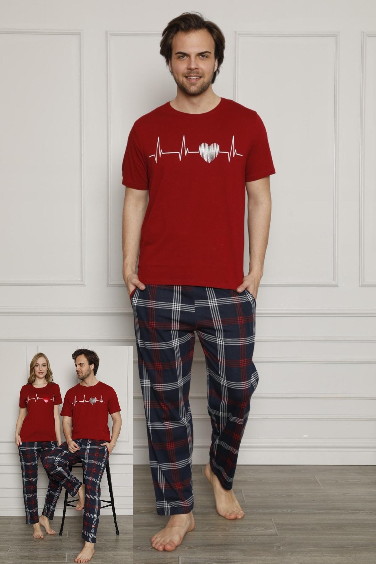 Erkek Baskılı Sevgili Çift Bordo Pamuklu Pijama Takımı Satışı Tek Ürün Için Geçerlidir (ERKEK)
