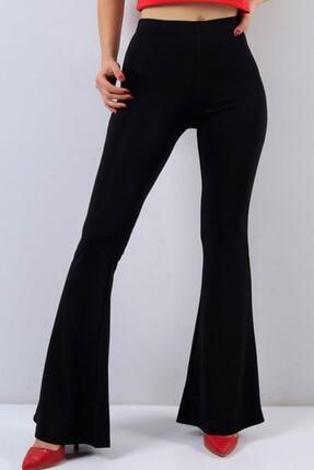Essah Moda Kadın Siyah Pantolon İspanyol Paça Likralı  - Mek000039 3