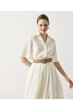 İpekyol Büzgü Detaylı Gömlek Elbise 0