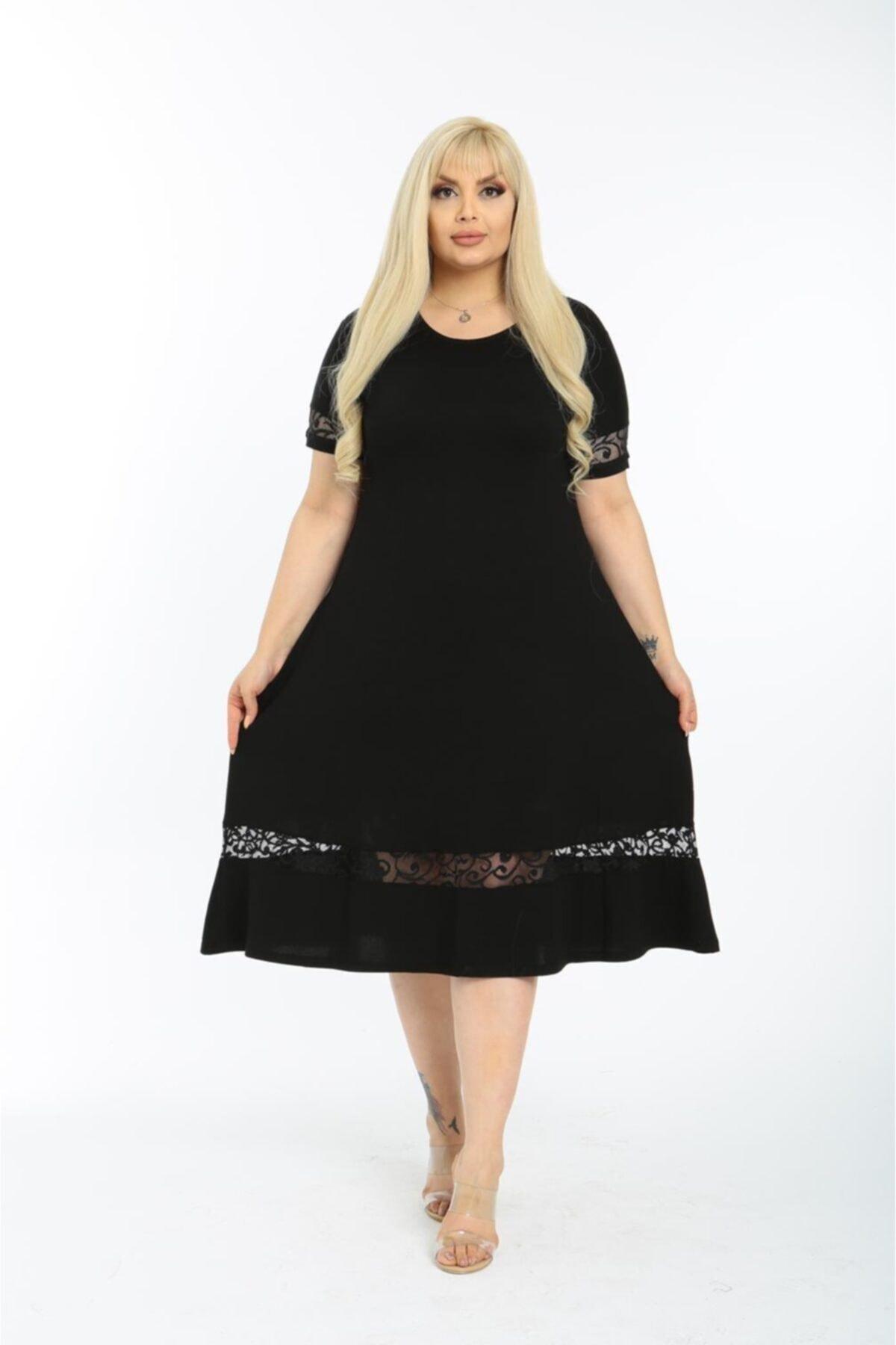 Kadın Siyah Eteği Dantel Detaylı Kısa Kol Büyük Beden Elbise