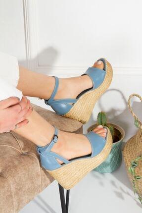 derithy Kadın Vinle-dolgu Topuklu Ayakkabı -kot Mavi-lzt0590 4