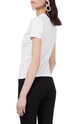 Emporio Armani Kadın Beyaz Payetli Bisiklet Yaka Pamuklu T Shirt 1