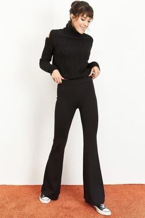 Md1 Collection Kadın Siyah Dalgıç Kumaş Bir Beden Inceltici Görünüm Sağlayan Ispanyol Paça Pantolon 2