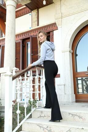 Md1 Collection Kadın Siyah Dalgıç Kumaş Bir Beden Inceltici Görünüm Sağlayan Ispanyol Paça Pantolon 4