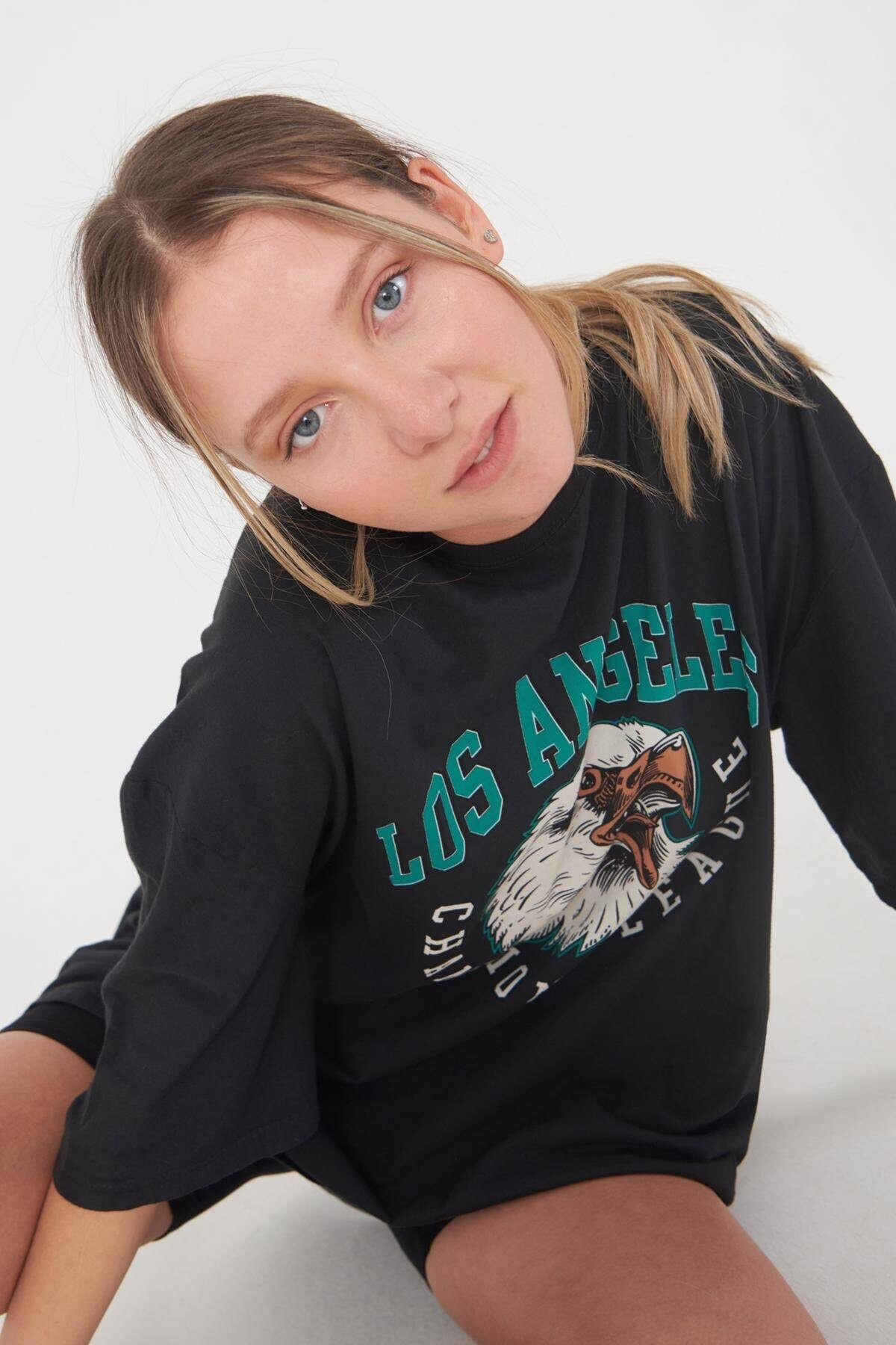 Addax Kadın Füme Baskılı T-Shirt P9420 - C5 Adx-0000022126 2