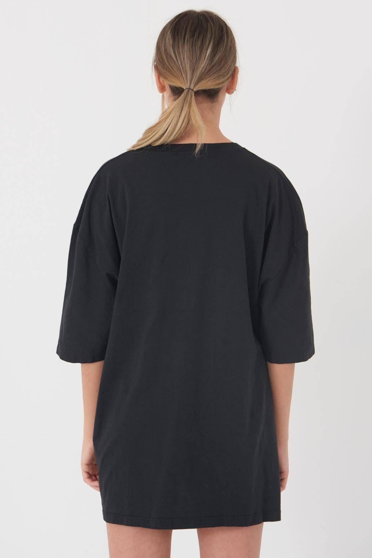 Addax Kadın Füme Baskılı T-Shirt P9420 - C5 Adx-0000022126 4