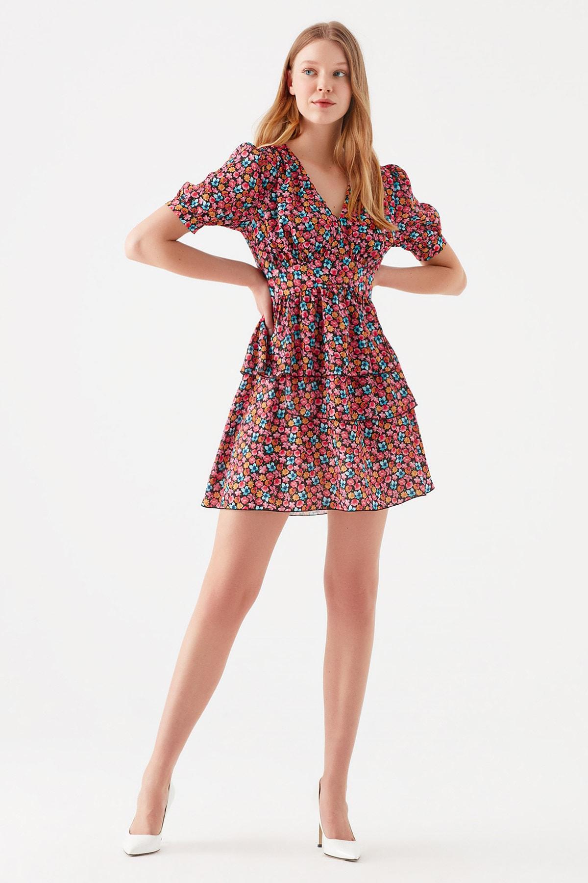 Mavi Kadın Çiçek Baskılı Pembe Mini Elbise 131134-35273