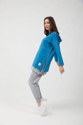 oia Kadın İndigo Pamuklu Tunik Pantolon Takım  W-0900 2