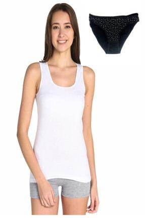 Tutku Kadın Beyaz Askılı Ribana Atlet & Desenli Bikini 0