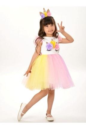 Buse&Eylül Bebe Kız Çocuk Beyaz Unicorn Figürlü Taçlı Elbise 2