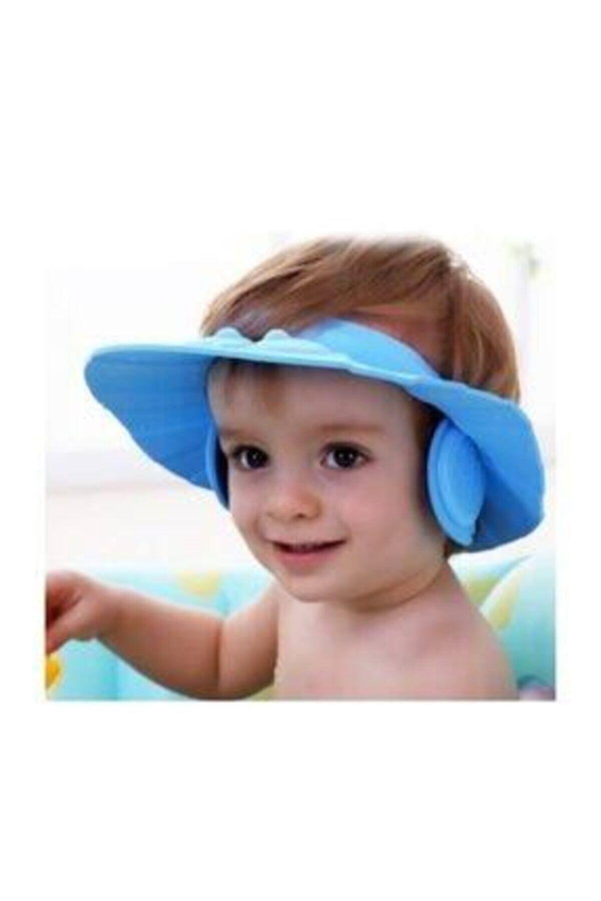Bebek Banyo Şapkası Düğmeli Kulaklıklı-mavi