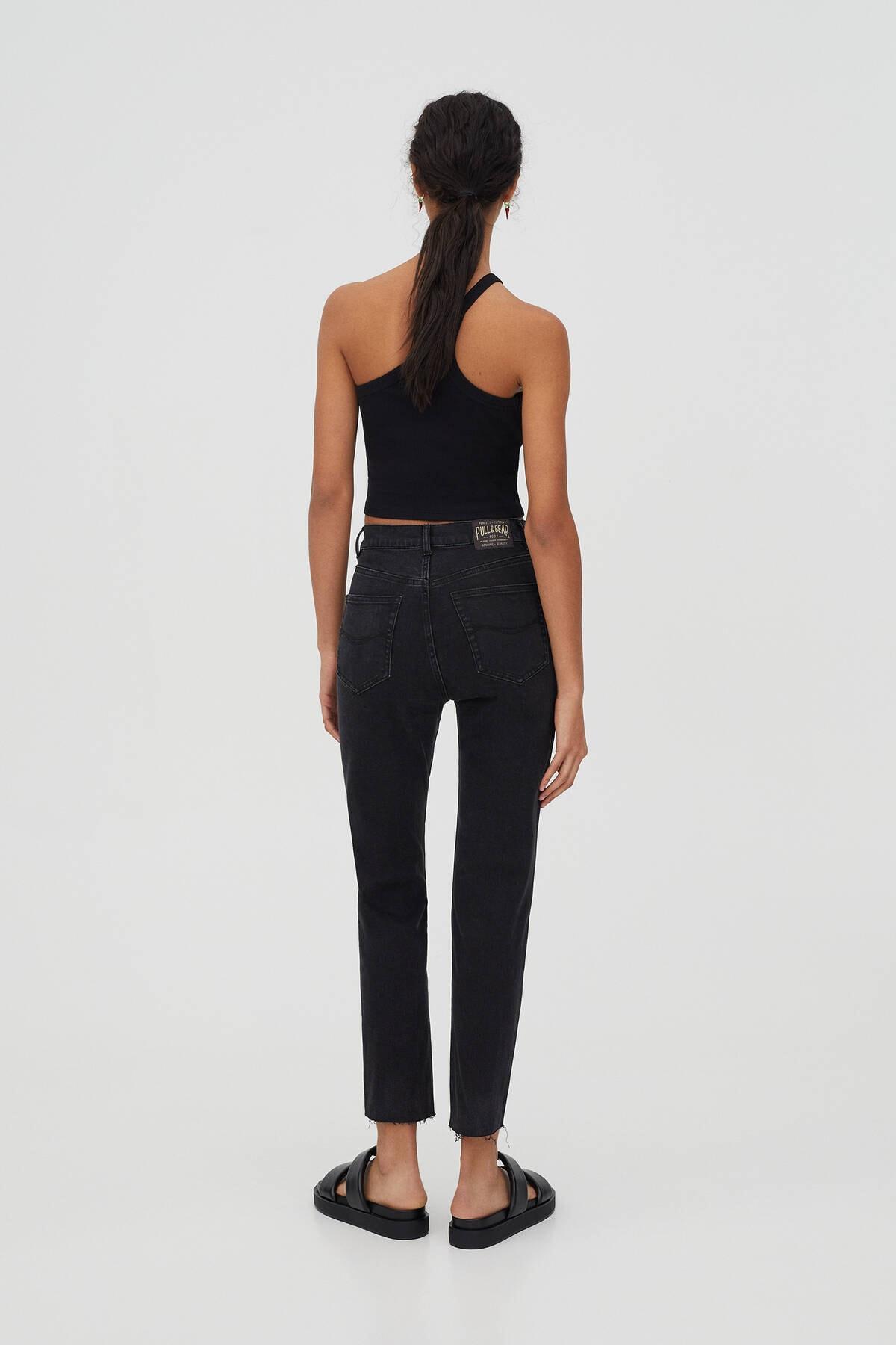 Pull & Bear Kadın Siyah Comfort Slim Fit Mom Jean 1