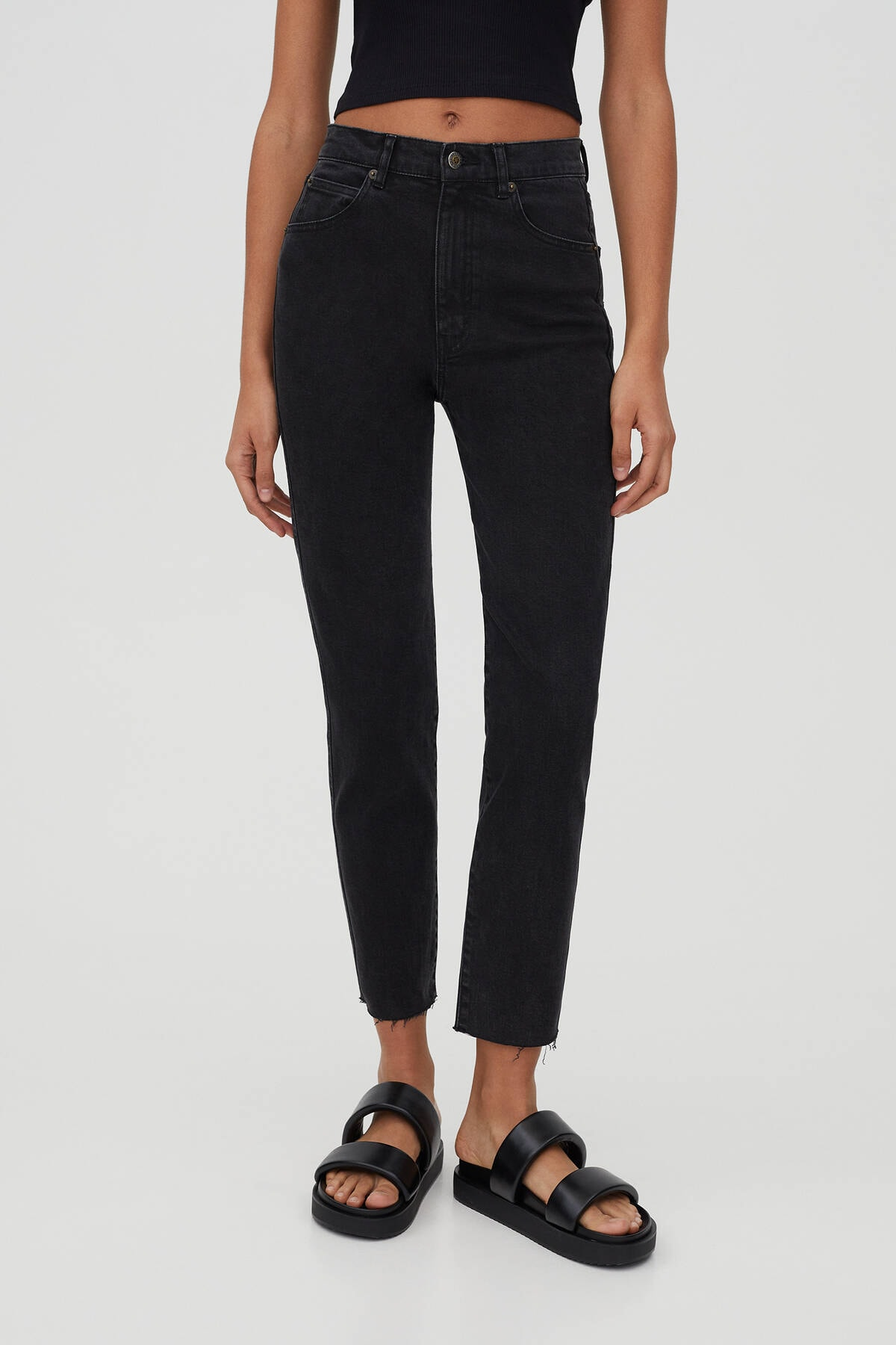 Pull & Bear Kadın Siyah Comfort Slim Fit Mom Jean 4