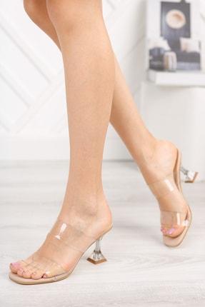 meyra'nın ayakkabıları Kadın Ten Şeffaf Bant Ve Şampanya Topuklu Ayakkabı 0