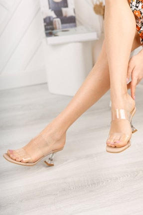 meyra'nın ayakkabıları Kadın Ten Şeffaf Bant Ve Şampanya Topuklu Ayakkabı 1