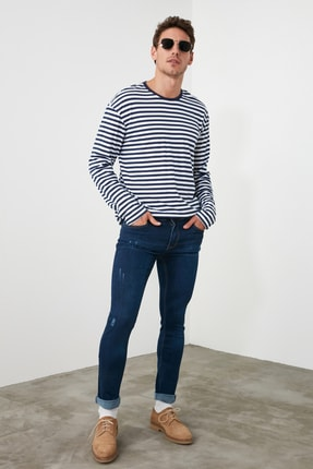 TRENDYOL MAN Indigo Erkek Skinny Tırmıklı Jeans TMNSS20JE0331 2