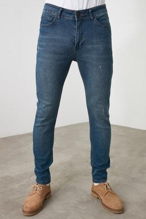 TRENDYOL MAN Indigo Erkek Tırmık Destroylu Tapared Skinny  Jeans TMNAW21JE0168 3
