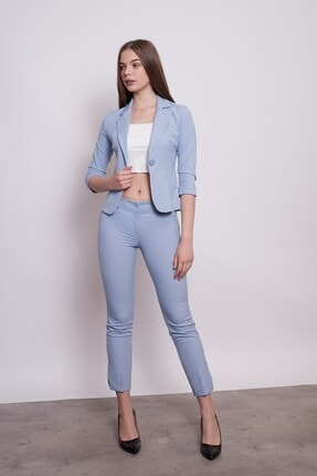 Jument Desenli Duble Kol Kısa Blazer Kumaş Ceket-mavi 0
