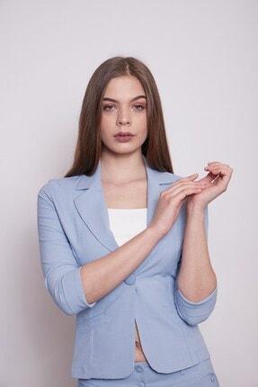 Jument Desenli Duble Kol Kısa Blazer Kumaş Ceket-mavi 2