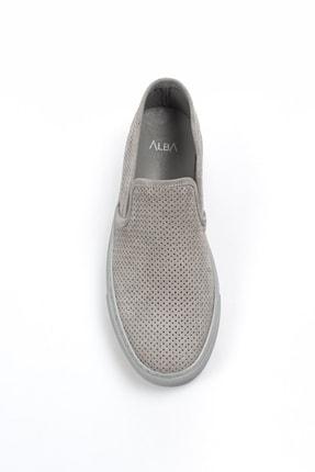 Alba Açık Gri Hakiki Deri Delikli Erkek Ayakkabı 2