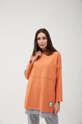 oia Kadın Oranj Renk Pamuklu Tunik Sweatshirt 2