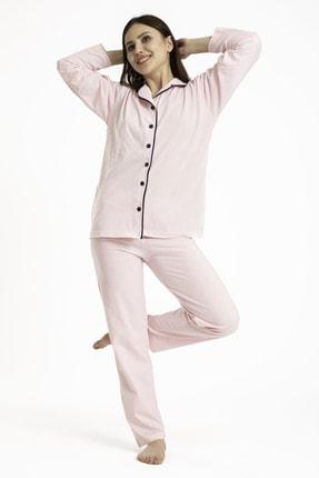 TAMPAP Kadın Düğmeli Pijama Takımı Puantiyeli 120 0