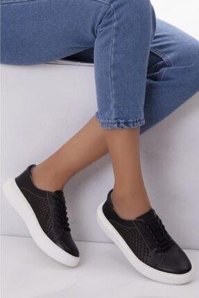 Deripabuc Hakiki Deri Siyah Kadın Deri Sneaker Trc-7634 0