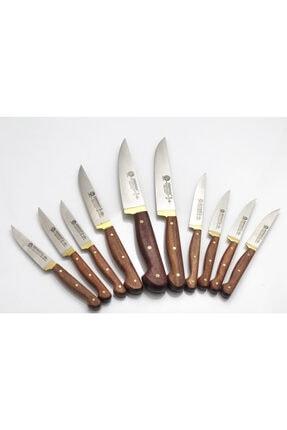 Sürdövbısa Sürmene İmalatı Ahşap Sap Ahşap Stand Organik Bıçak Seti 10 Lu 3