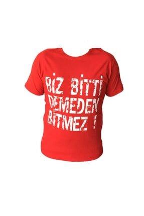 TRYON Unisex Türkiye Milli Takım Kırmızı Beyaz 'Biz Bitti Demeden Bitmez!' Tshirt 0