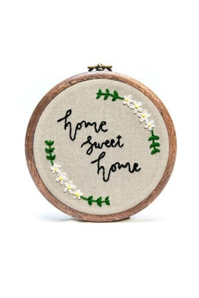 Home Sweet Home Mini Nakış Pano El Emeği Dekoratif Duvar Dekorasyon Pano orgc108