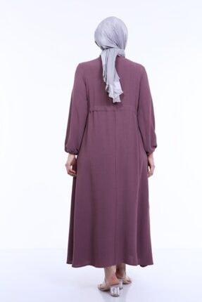 MODA MAHPERİ Keten Aerobin Büyük Beden Tesettür Elbise Beli Ayarlamalı Keten Ayrobin Elbise 1
