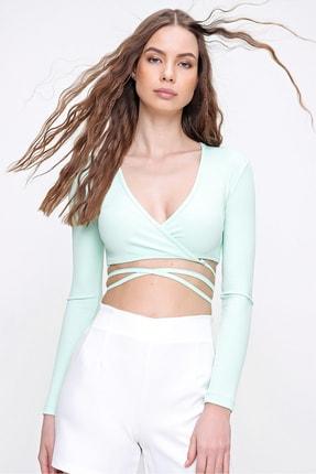 Trend Alaçatı Stili Kadın Su Yeşili Kruvaze Yaka Bağlamalı Crop Bluz ALC-X6059 2