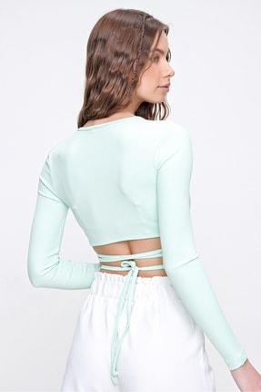 Trend Alaçatı Stili Kadın Su Yeşili Kruvaze Yaka Bağlamalı Crop Bluz ALC-X6059 4