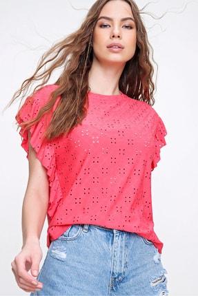 Trend Alaçatı Stili Kadın Mercan Kolları Fırfırlı Fisto Örme Bluz ALC-X6211 0