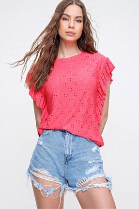 Trend Alaçatı Stili Kadın Mercan Kolları Fırfırlı Fisto Örme Bluz ALC-X6211 1