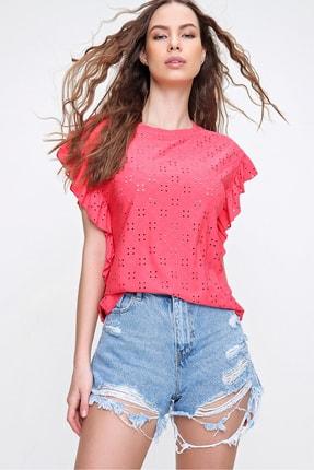 Trend Alaçatı Stili Kadın Mercan Kolları Fırfırlı Fisto Örme Bluz ALC-X6211 2