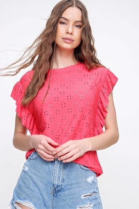 Trend Alaçatı Stili Kadın Mercan Kolları Fırfırlı Fisto Örme Bluz ALC-X6211 3