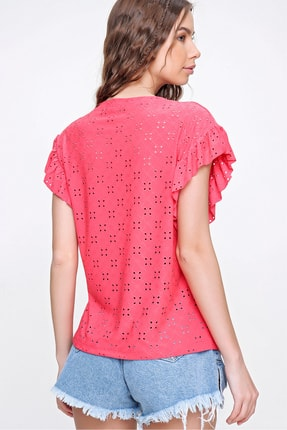 Trend Alaçatı Stili Kadın Mercan Kolları Fırfırlı Fisto Örme Bluz ALC-X6211 4